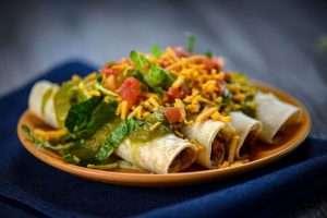 Vegan Green Chili Taquito Plate
