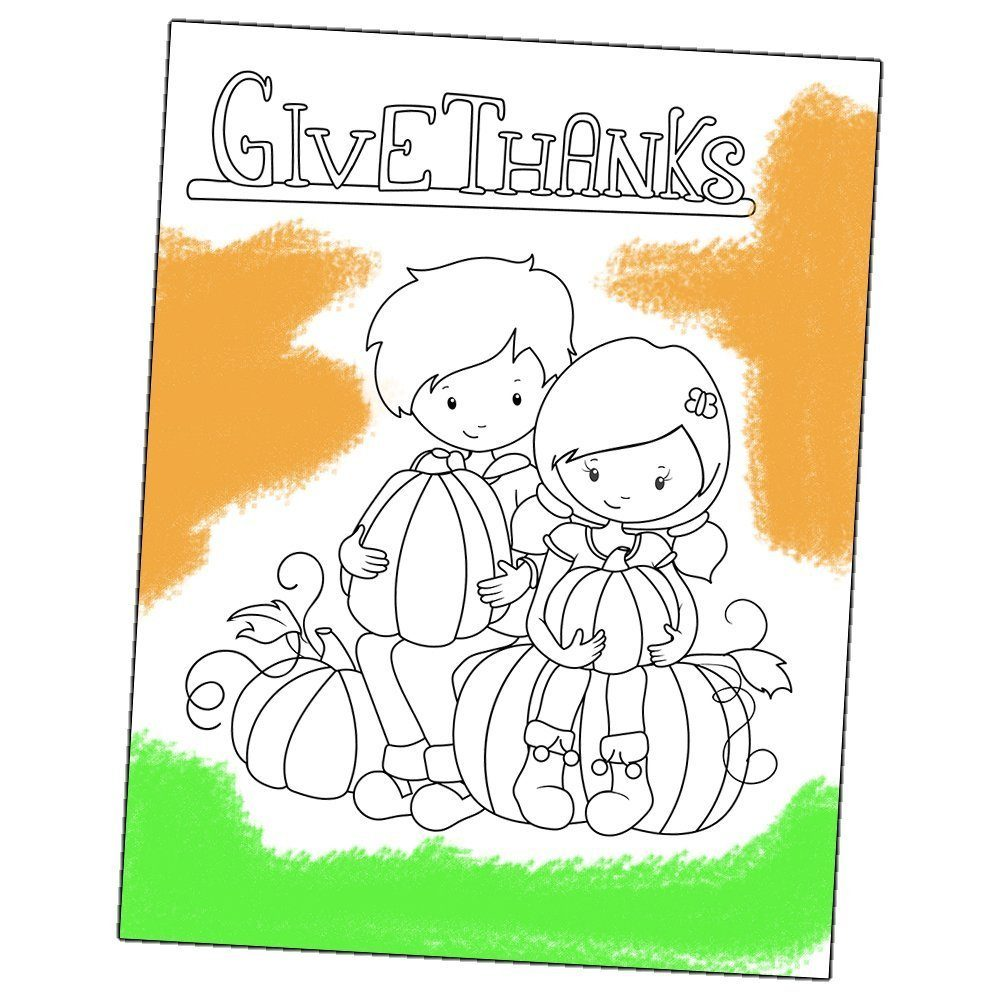 preview of the give thanks coloring page download